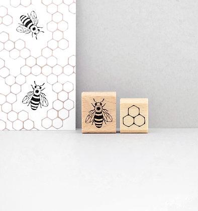Stempelset | Honigbiene mit Wabe