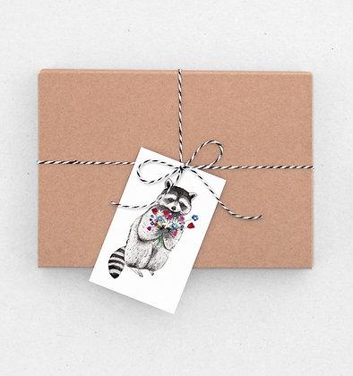 Geschenkanhänger Set | Waschbär mit Blümchen