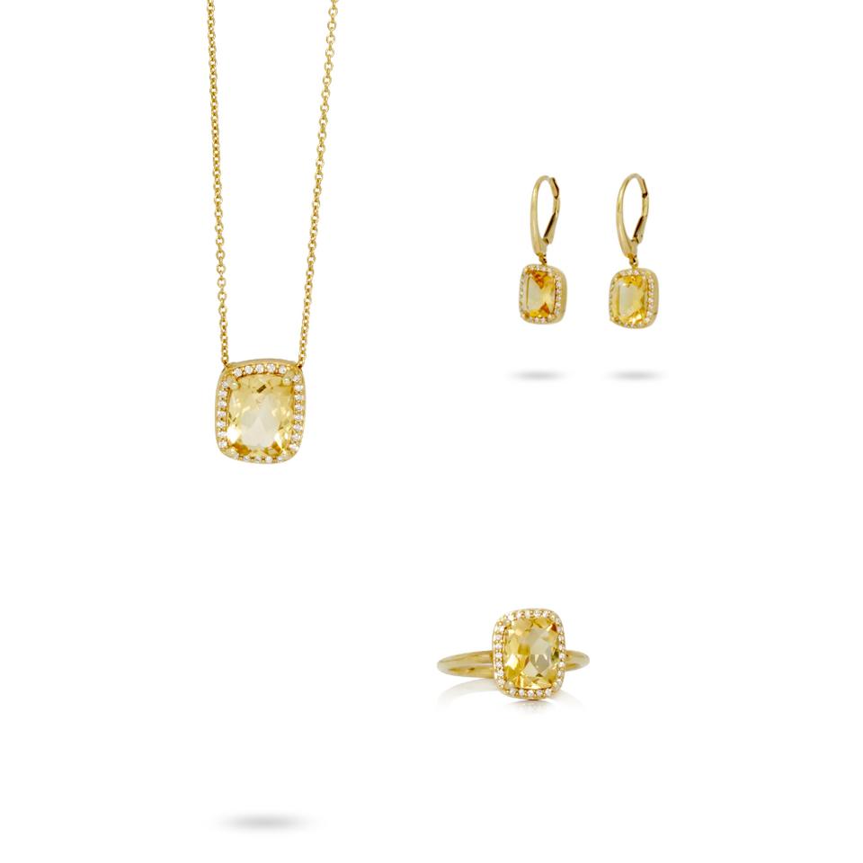 Set en or jaune 18kt avec diamants et citrine