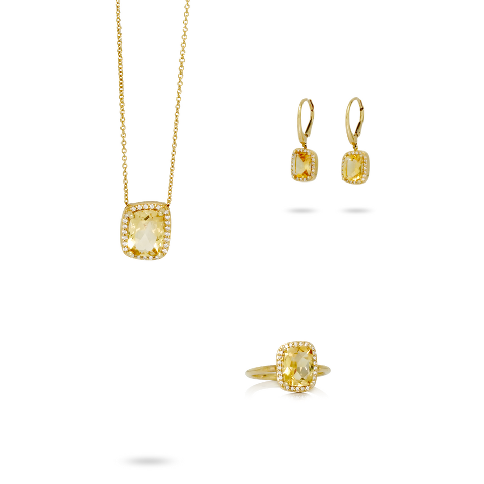 Set en or jaune 18kt avec diamants et citrine