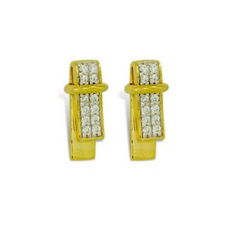 Boucles d'oreilles en plaqué or jaune et zircon