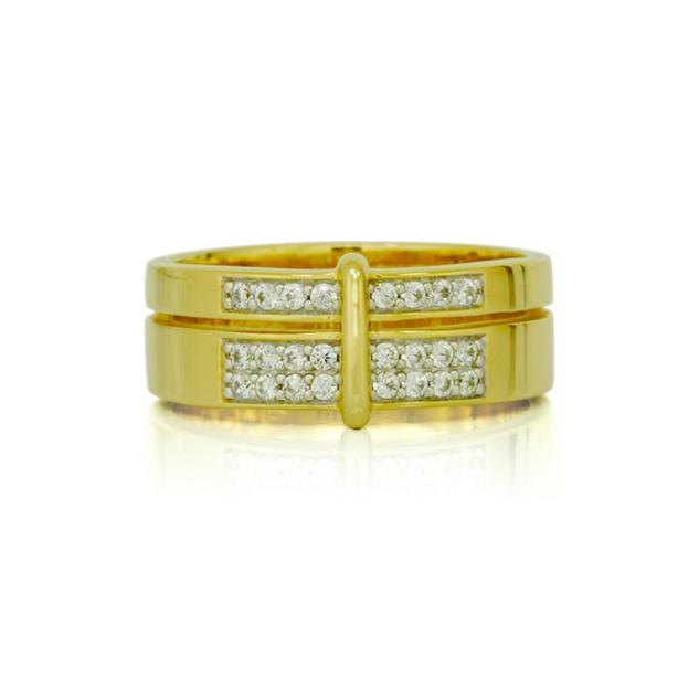 Bague en plaqué or jaune et zircon