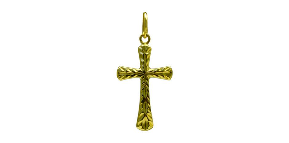 Croix en or jaune 18kt - 17 250 xpf