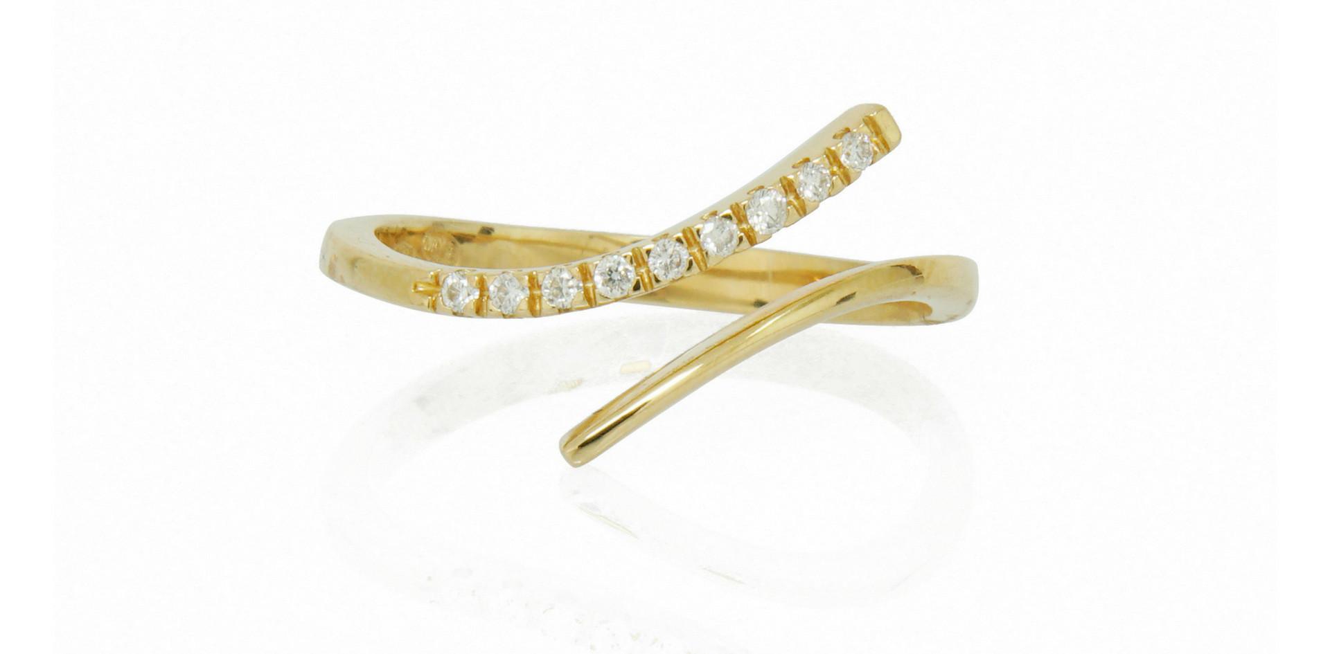 Alliance or jaune 18kt et diamants