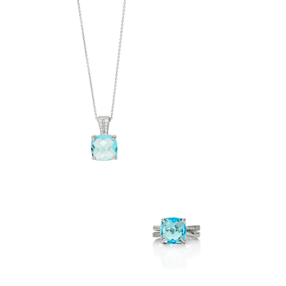 Set en or gris 18kt avec diamants et topaze bleue