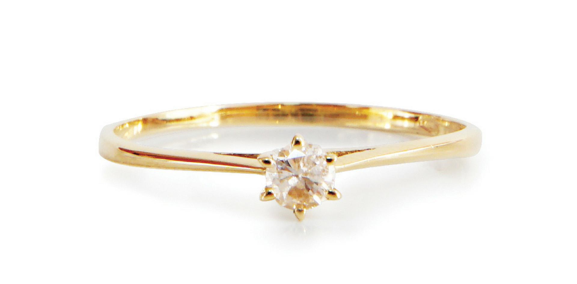 Solitaire or jaune 18kt et diamants