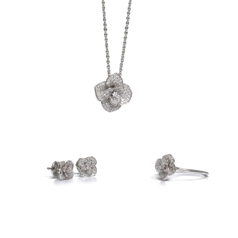 Set en or gris 18kt et diamants