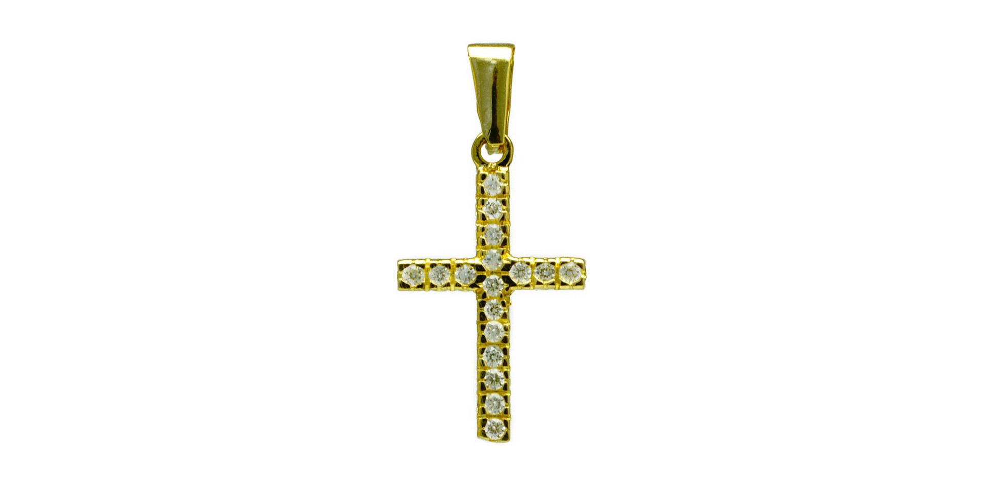 Croix en or jaune 18 kt et zircon - 19 000 xpf