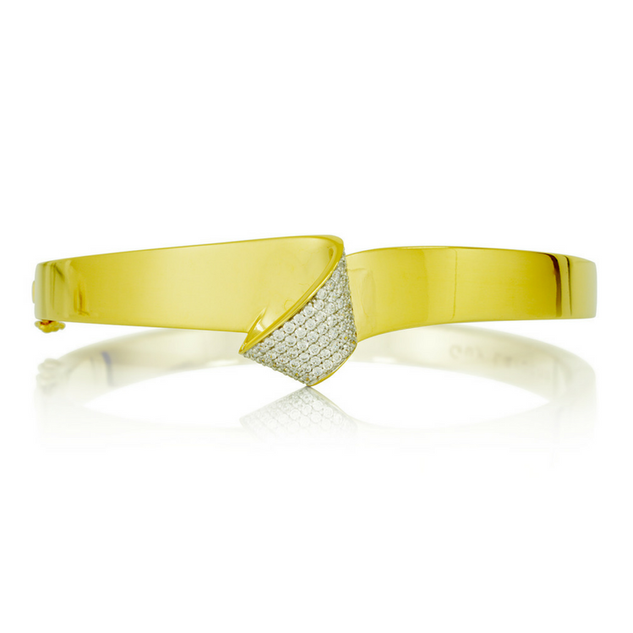 Bracelet plaqué or jaune zircon