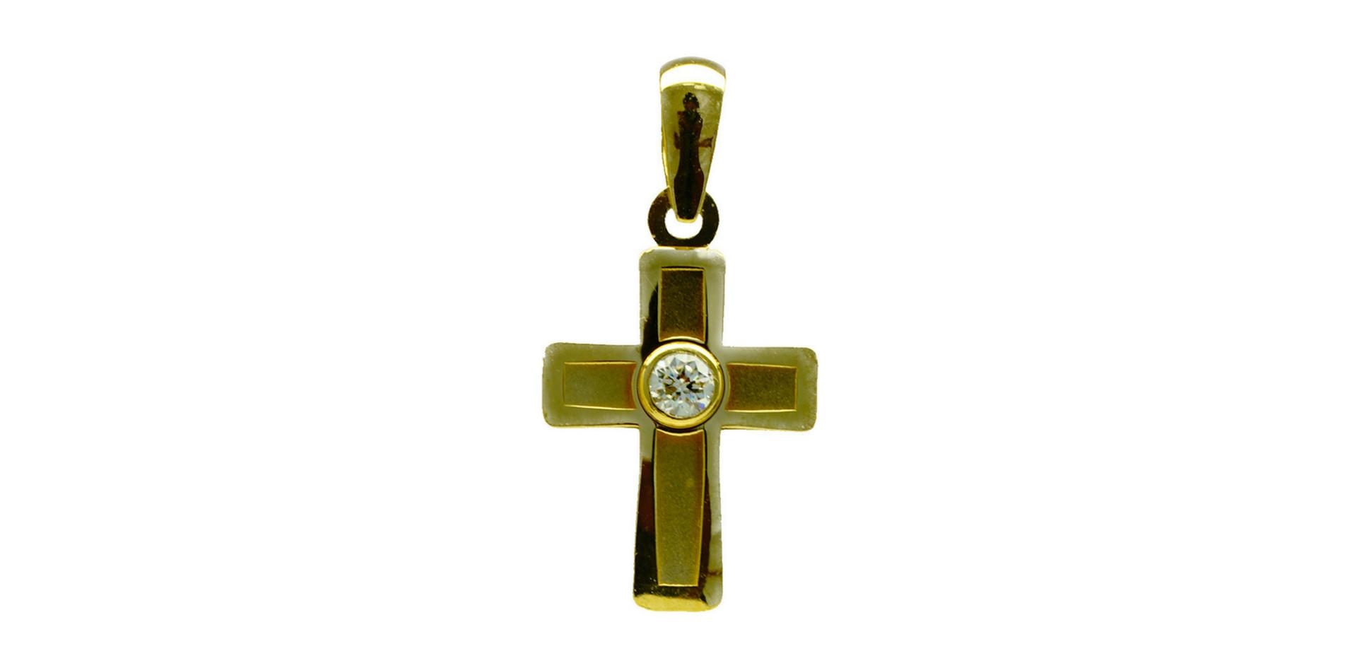 Croix en or jaune 18 kt et zircon - 12 500 xpf