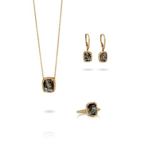 Set en or rose 18kt avec dimants et quartz rutile noir