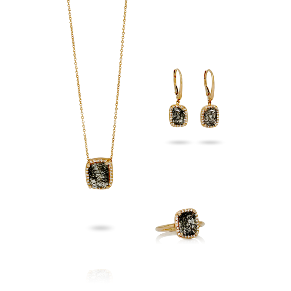 Set en or rose 18kt avec dimants et quartz rutile noir