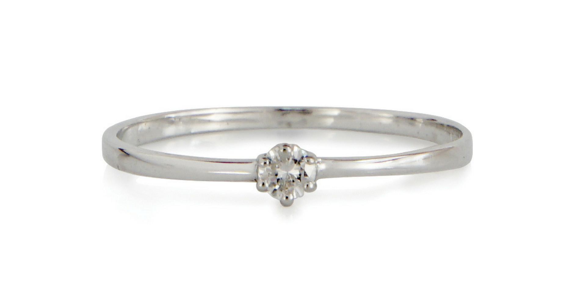 Solitaire or gris 18kt et diamants