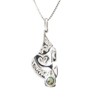Pendentif Rameur en argent rhodié et cabochon de perle de Tahiti