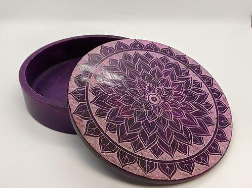 Purple Lotus Flower Soapstone Box
