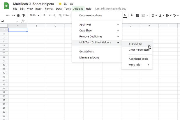 MultiTech G-Sheet Helpers - Start Sheet.