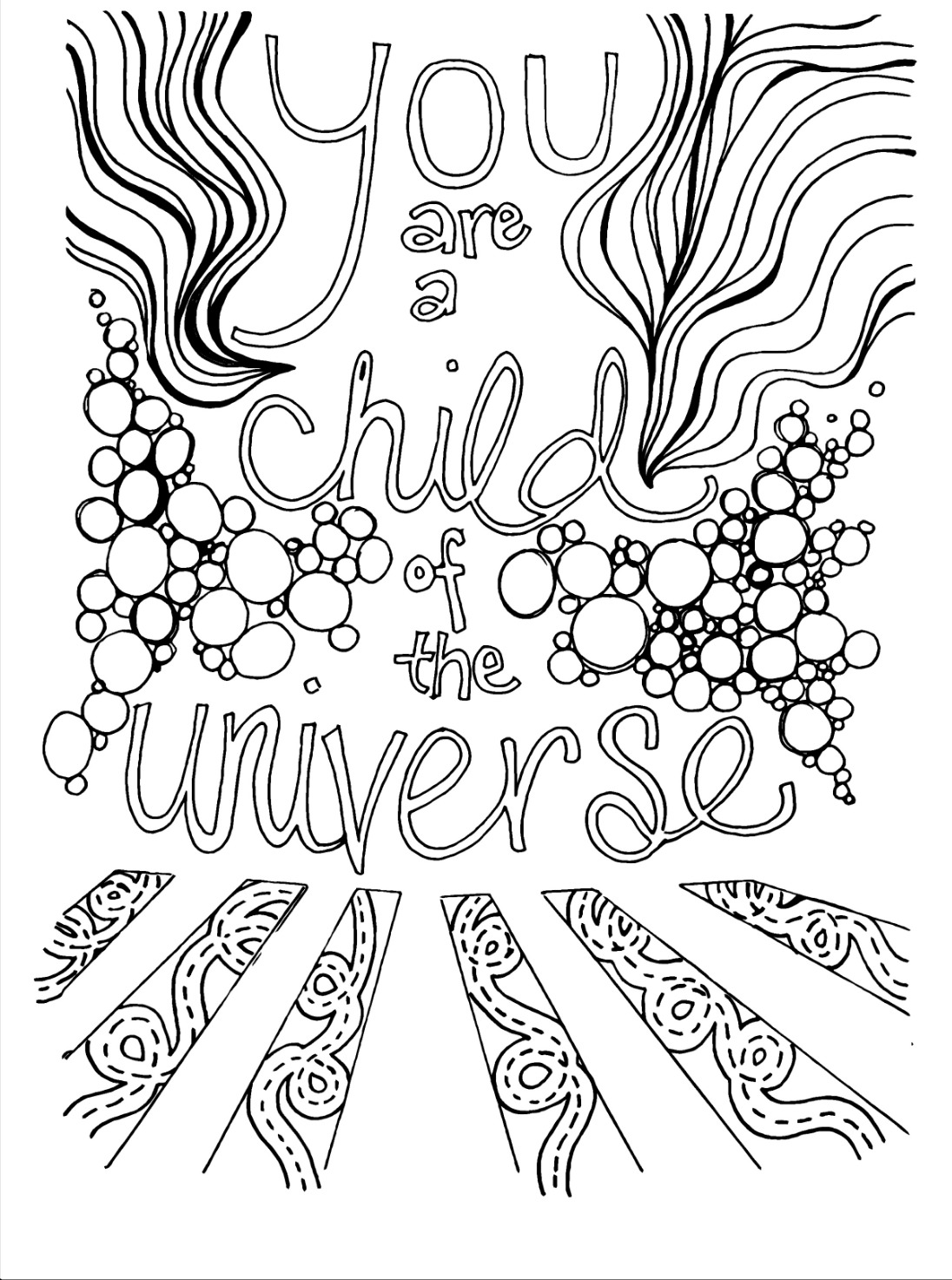 Coloring book page for One Love Yoga