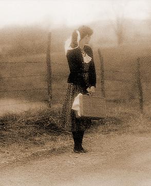 Girl on farm road