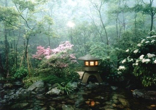 雲仙旅亭半水廬/赤松とモミジの木立と満開の五月の客室の庭