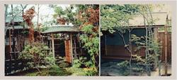 島田邸/総柿葺き屋根の茶室とむくり屋根の中門 外腰掛け待合