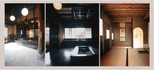 大島邸/玄関の土間 寄り付きの間の囲炉裏 三帖台目ノ席