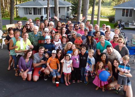 huge group of people outside resort