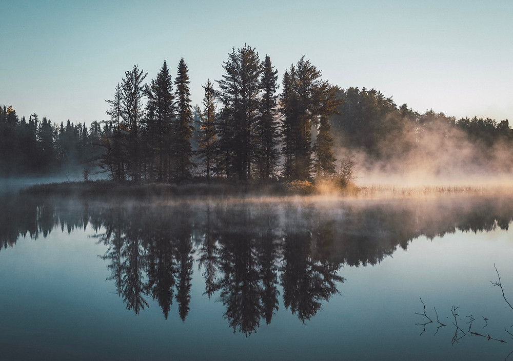 early morning lake fog