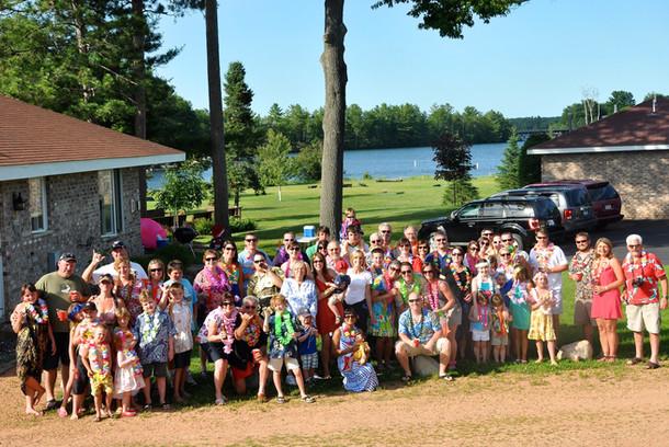 huge family of people outside resort