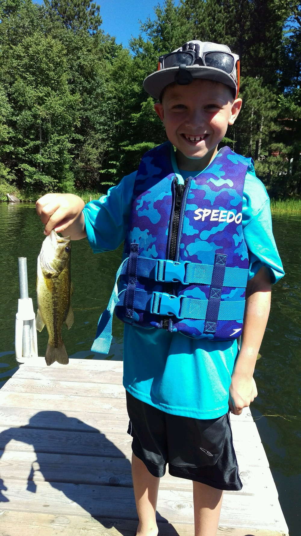 catching a fish on Lake Minocqua