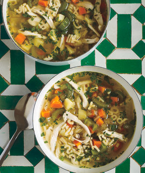 chicken soup in bowls