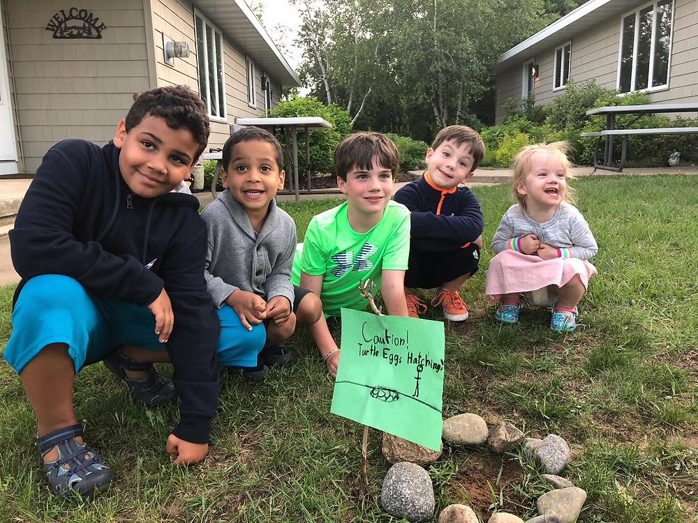 kids around turtle nest