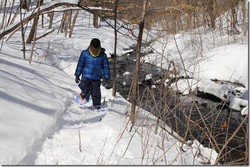 boy walking in snowy woods