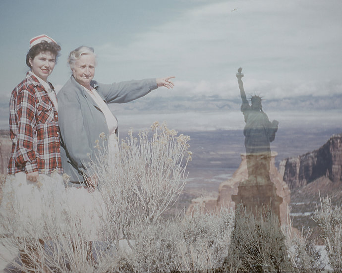 Grandma Points to the Statue of Liberty at Independence Monument""
