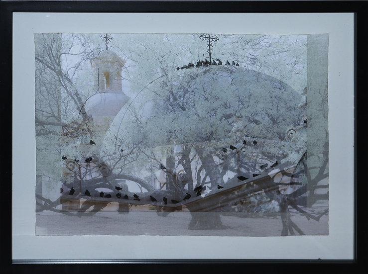 """A Flight of Doves in Congregation at San Xavier del Bac"""