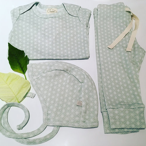 Kids Clothes | UK | Mini People | Newborn Gift Set - Mint Sashiko