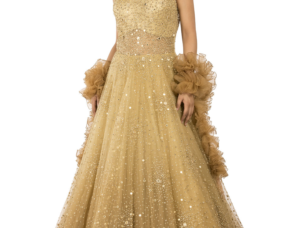 Mustard Shaded Party Wear Gown with Ruffle Style Veil (Style Code: 2341686)