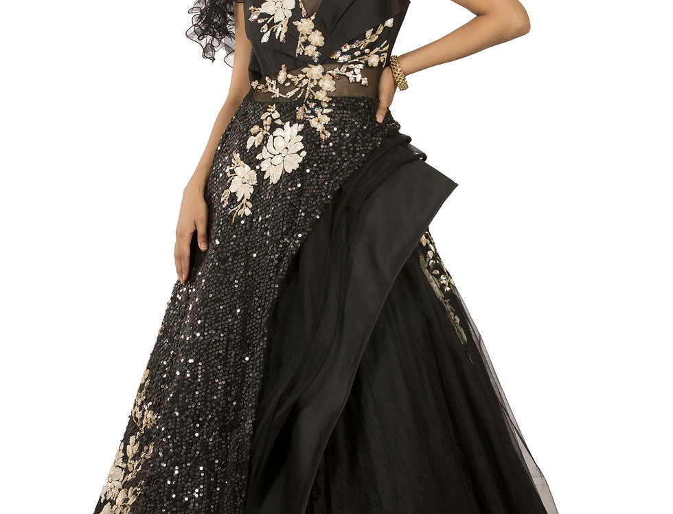 Black Base Party Wear Gown with Sequence Work (Style Code: 2329774)