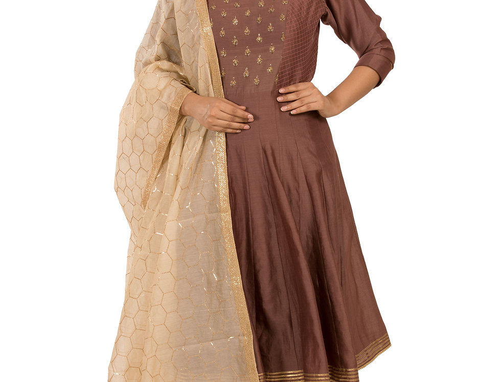 Light Brown Indo-Western Silk Suit with Pants & Dupatta (Style Code: 2349987)