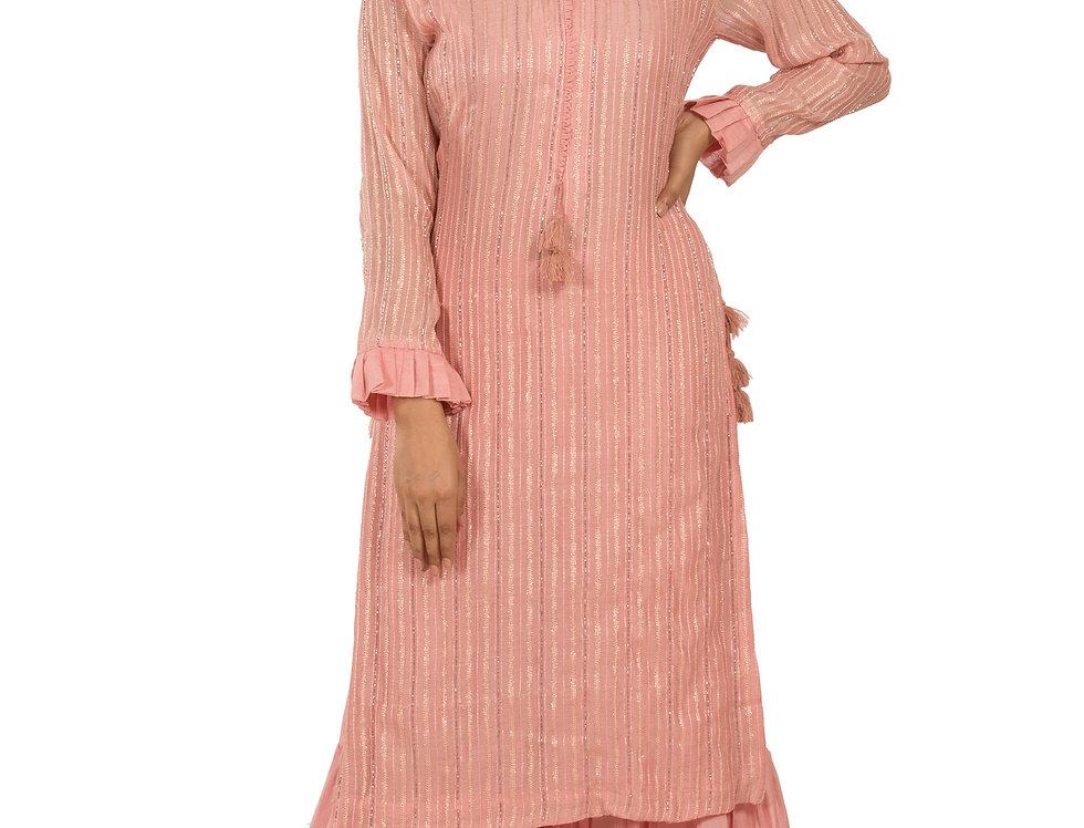 Pink Readymade Chanderi Silk Suit with Sharara & Dupatta (Style Code: 2371491)