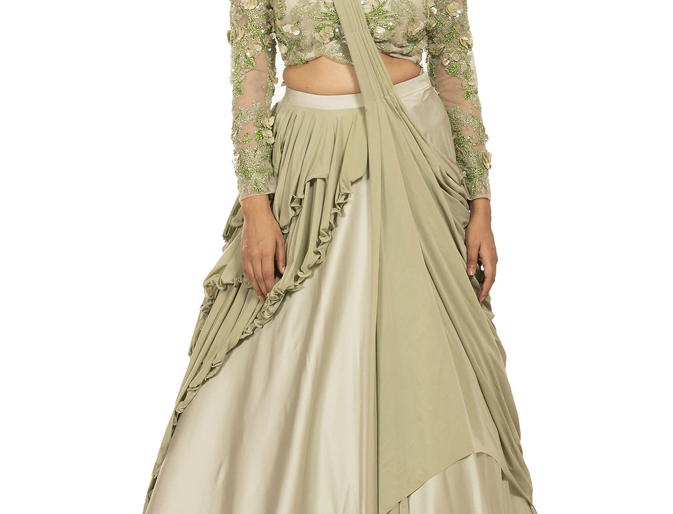 Mud Green Satin Designer Party Dress (Style Code: 2359410)