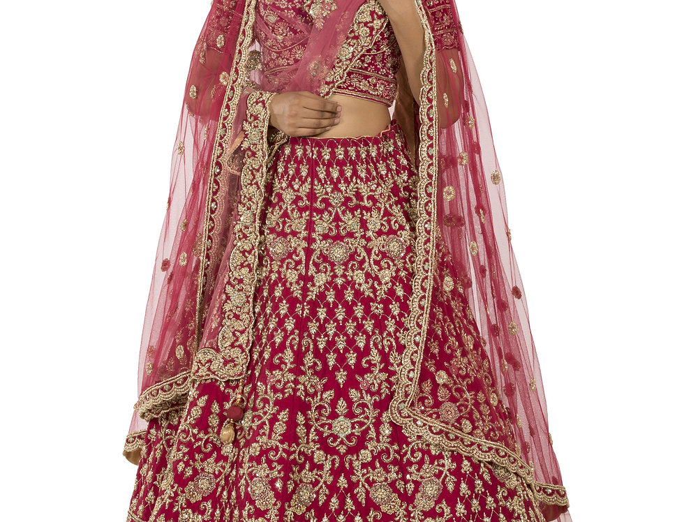 Onion Pink Silk Bridal Lehenga with Two Separate Dupattas (Style Code: 2380051)