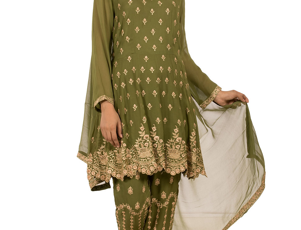 Mehendi Green Indo-Western Suit with Pants & Dupatta (Style Code: 2387273)