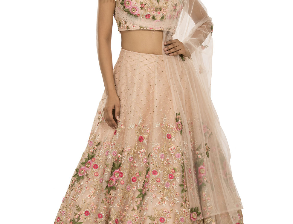 Light Peach Party Wear Lehenga with Multi-color Threadwork (Style Code: 2386095)