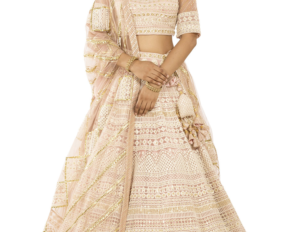 Rose Pink Lehenga with Lucknowi Thread Work & Dupatta (Style Code: 2367854)