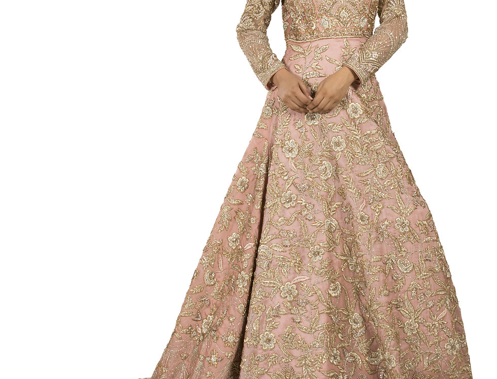 Pink Base Party Wear Gown with Fine Zari & Crystal Work (Style Code: 2387867)