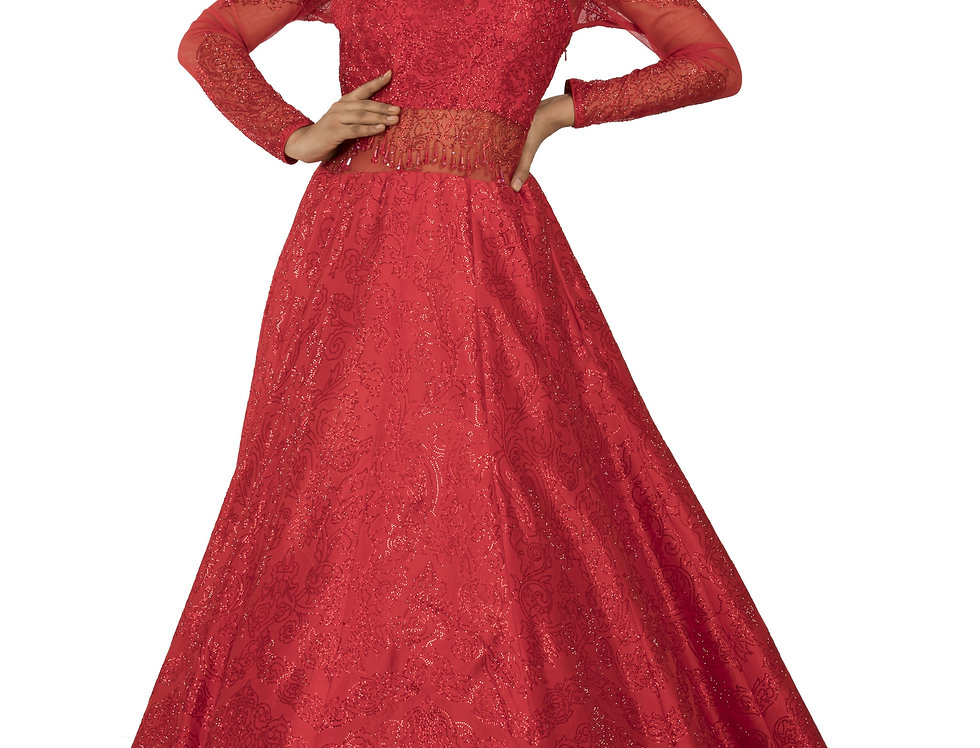 Red Base Silk Party Wear Gown with Self Swarovski Work (Style Code: 2390859)