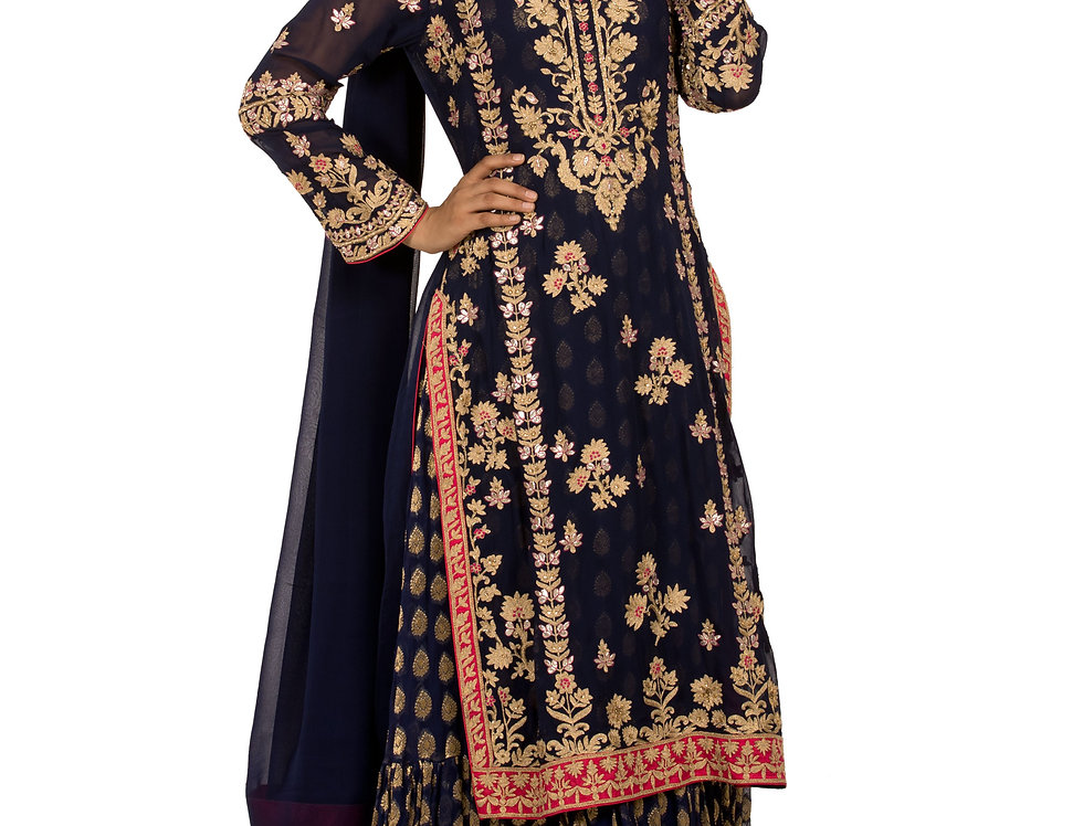 Blue Base Readymade Georgette Suit with Sharara & Dupatta (Style Code: 2313498)
