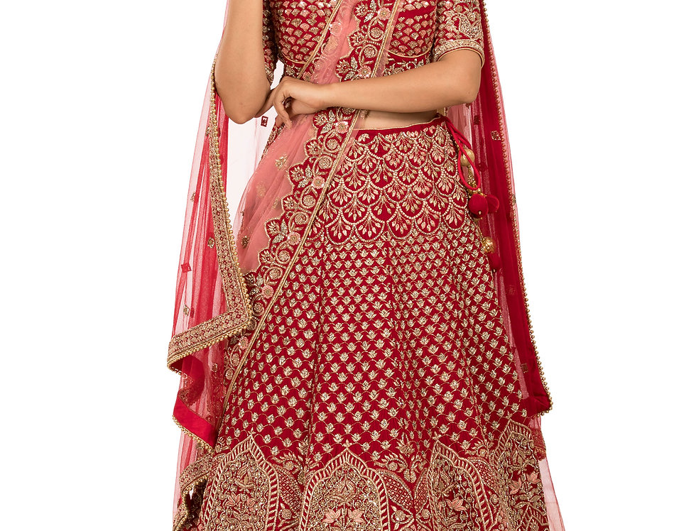Red Micro Velvet Lehenga with 2 Separate Dupattas (Style Code: 2375150)