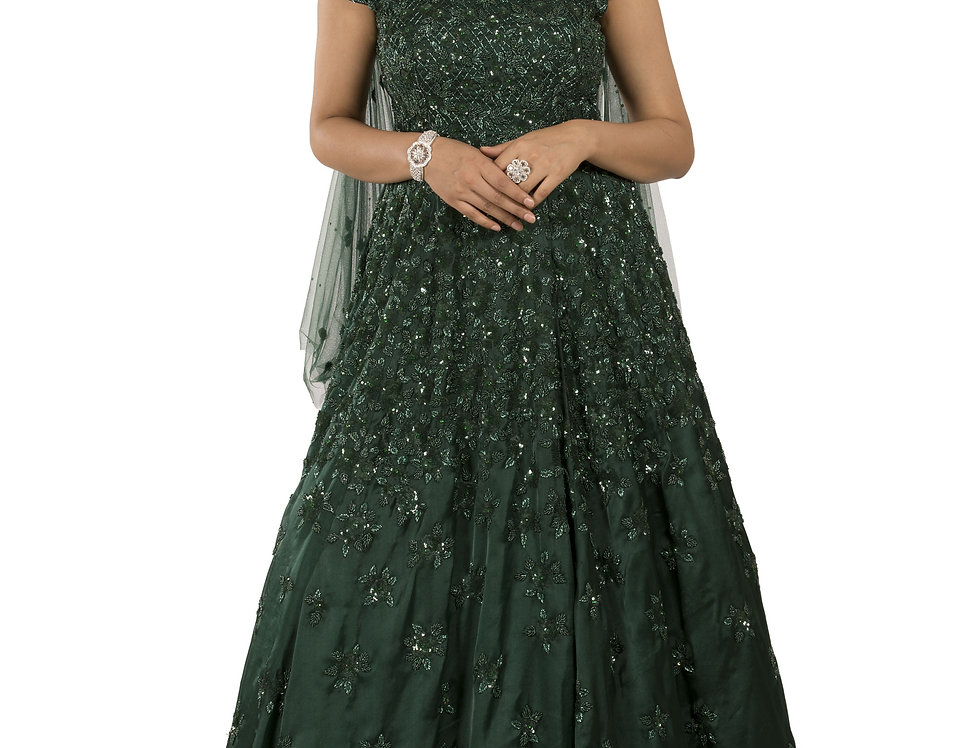 Bottle Green Party Wear Gown with Stylish Frill Drape Veil (Style Code: 2389301)