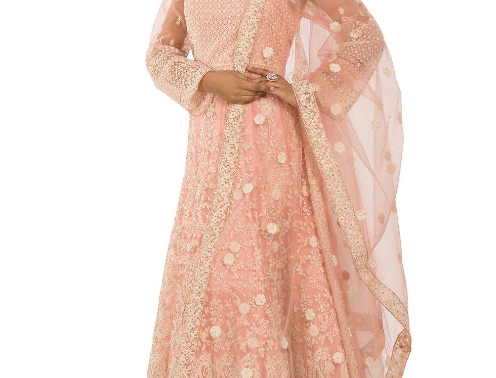 Peach Base Anarkali Suit & Dupatta (Code: 2389566)